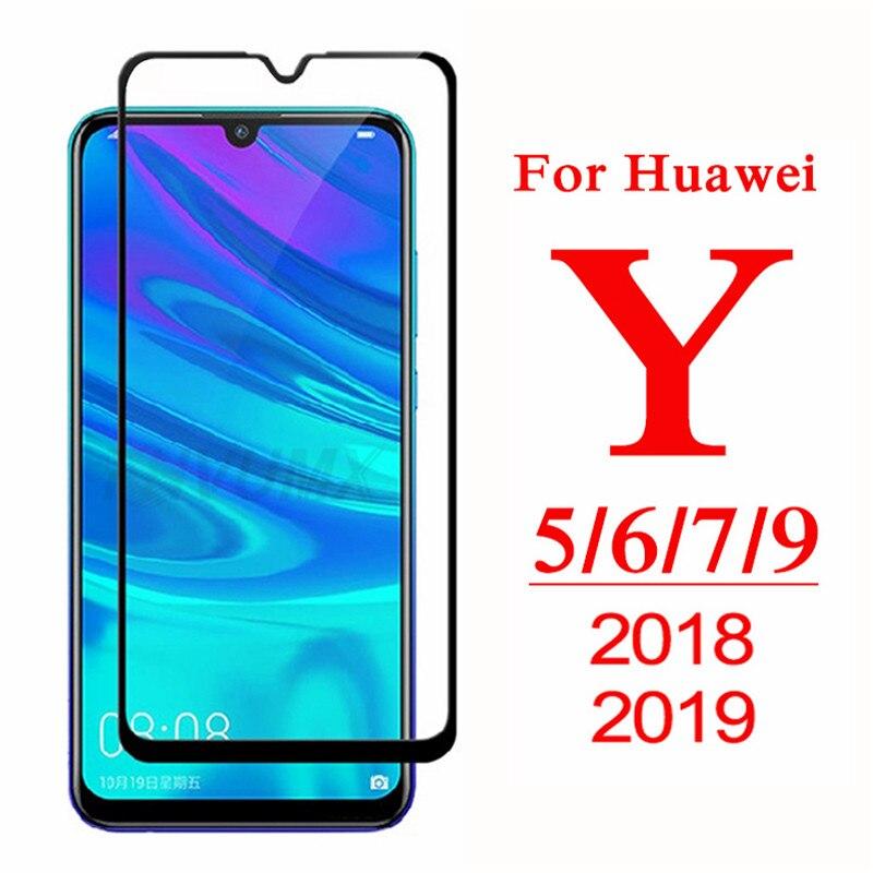 Полное покрытие защитное стекло для Huawei Y5 Y6 Y7 Y9 Prime 2018 закаленное стекло Y5 Lite Y 5 6 7 9 Pro 2019 Защитная пленка для экрана