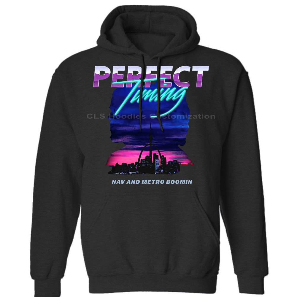 Nav & Metro Boomin Perfect Timing Men's BLACK WHITE Mens Unisex (Womens) Winter Hoodies Sweatshirts Free Shipping