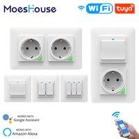 Enchufe de luz inteligente con WiFi, interruptor de salida desmontable, Horizontal, vida inteligente, Tuya, Control remoto inalámbrico, funciona con Alexa y Google Home