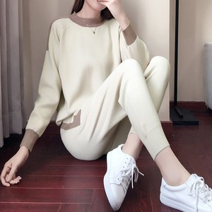 Image 3 - Women Winter Woolen And Cashmere Pattern Knitted Warm Suit O Neck Sweater+Pants Tracksuit Two Piece Set Female Sporting Suits