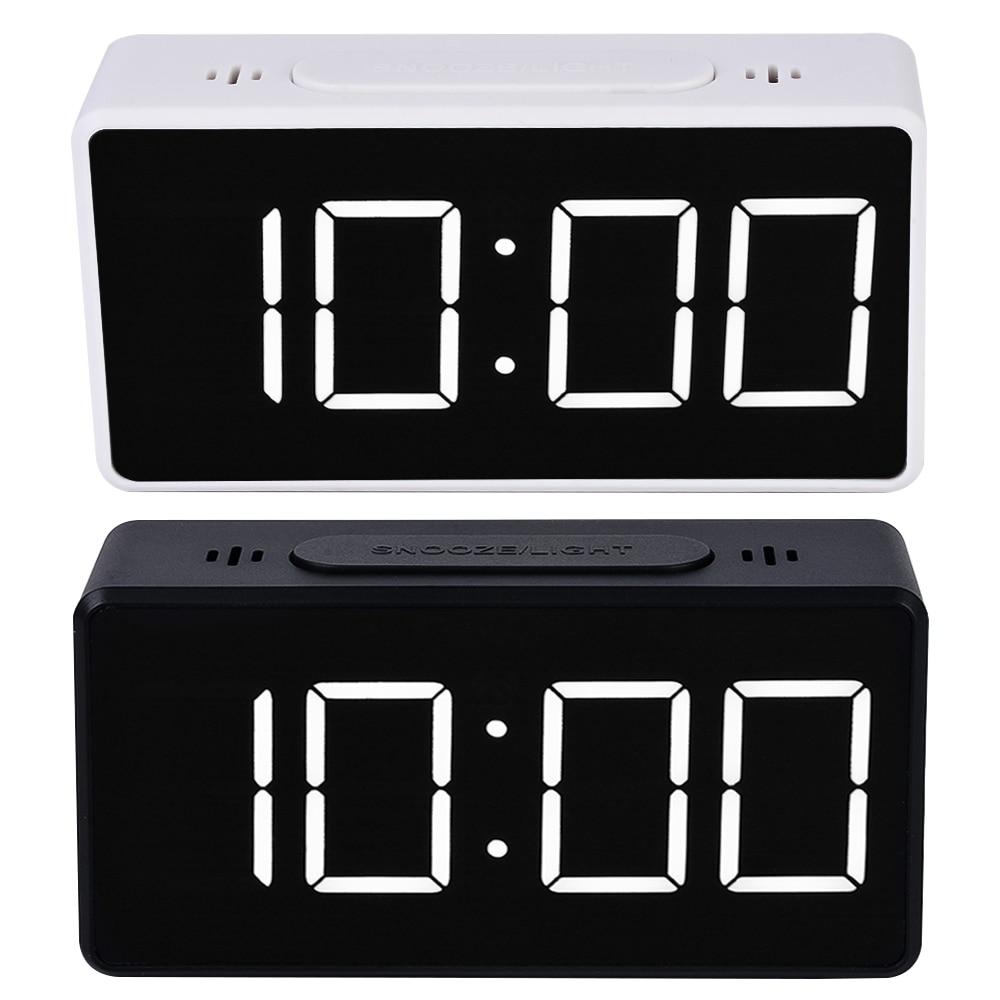 Digital Mirror LED Display Alarm Clock Electronic Time Temperature Calendar Table Alarm Clock USB Charging Student Desk Clocks