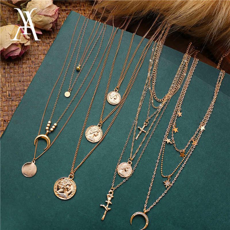 Boêmio multi camadas colar para mulheres vintage retrato moeda estrela lua pingente colar geométrico collier collares