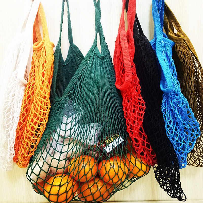 새로운 메쉬 가방 문자열 쇼핑 가방 재사용 가능한 과일 스토리지 핸드백 토트 여성 쇼핑 그물 가방 구매자 가방 코튼 짠