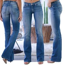 Mom Jeans Vrouwen Skinny Slim Mid Waisted Denim Jeans Pocket Stretch Knop Bell-Bottom Broek Jeans Mujer S10(China)