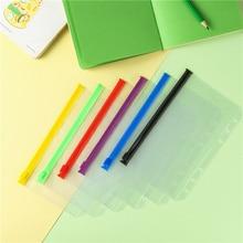 5PCS Color PVC Transparent A6 Waterproof Loose-Leaf Bag Document Bag Business Card Zipper Storage Hand Account Zipper Bags