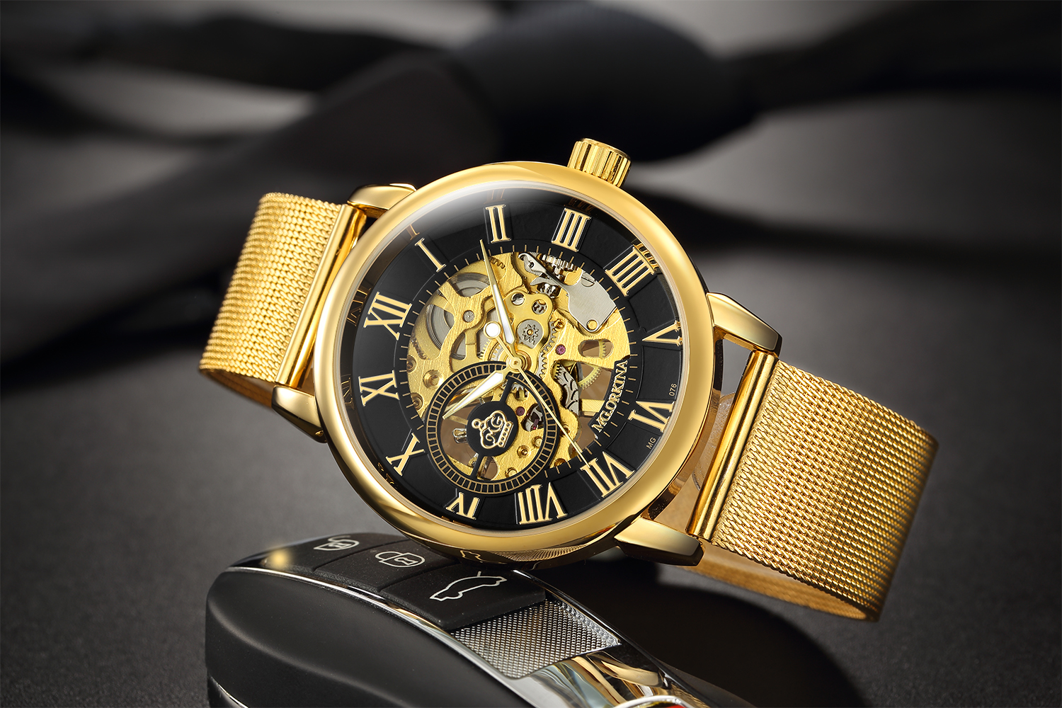 Hde5533a15ed4440e89fc5f256b04bd32F Coupons Sale Men Watches Mechanical Hand Wind Luxury Top Brand ORKINA Skeleton Stainless Steel Bracelet Mesh Strap Men's Watches