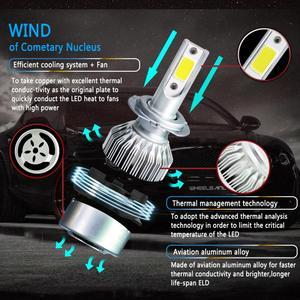 1 pc dc 9-32 v c6 h7 cob led kit farol do carro turbo lâmpada 6000 k 72 w 8000lm prata bs2 branco farol e foglight