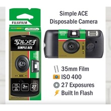 Fujifilm SIMPLE ACE ISO 400 35mm Power Flash 27 Photo Exposures Single Use One Time Use QuickSnap Disposable Film Camera