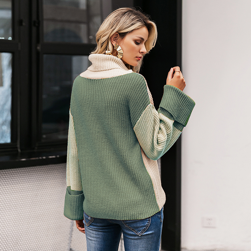 Simplee Patchwork turtleneck knitted sweaters female Casual long sleeve korean pullover jumper Women streetwear ladies sweater 9