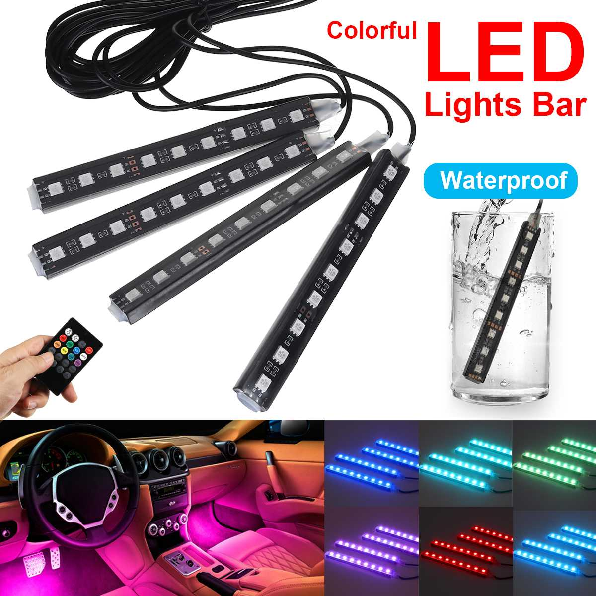 4x 9LED Colorful LED Light Bar Car Interior Floor Remote Control Neon LED RGB Strip Light Colorful Lamp Waterproof Universal