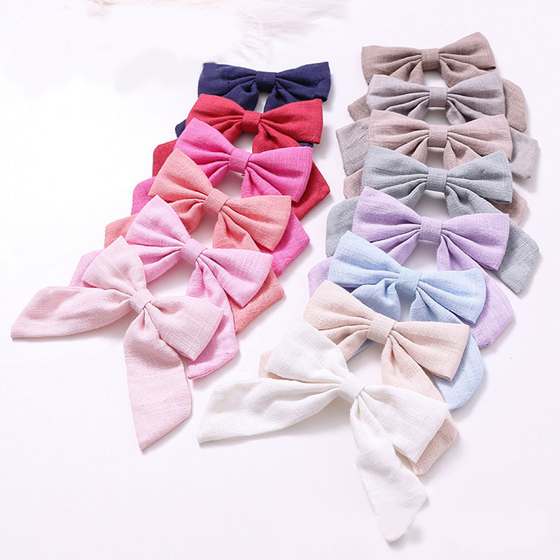 1Pcs Cotton Linen Solid Color Long Tail Bow Hair Clips Barrettes Hairpins Grips Girls Women Cute Sweet Hair Accessories   Headwear