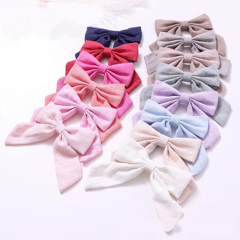1Pcs Cotton Linen Solid Color Long Tail Bow Hair Clips Barrettes Hairpins Grips Girls Women Cute Sweet Hair Accessories Headwear