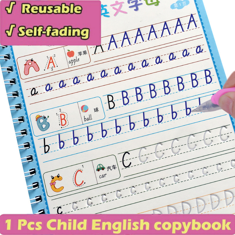 New 26 English letters Reusable Copybook For Calligraphy Learning English Handwriting ractice Book For kids School Students Book 1