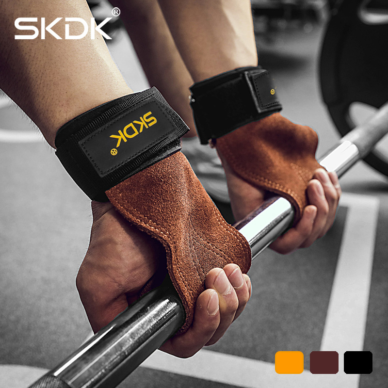 SKDK Grips Cowhide Weight Lifting Gloves Gym Fitness Grip Pads Wrist Wraps Support Crossfit Deadlifts Training Gloves