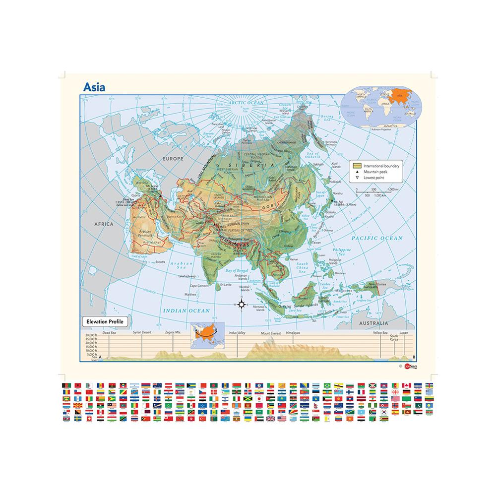 Elevation Profile Asia Map 90x90cm Non-woven Vinyl Inkjet Map With Flag For Education