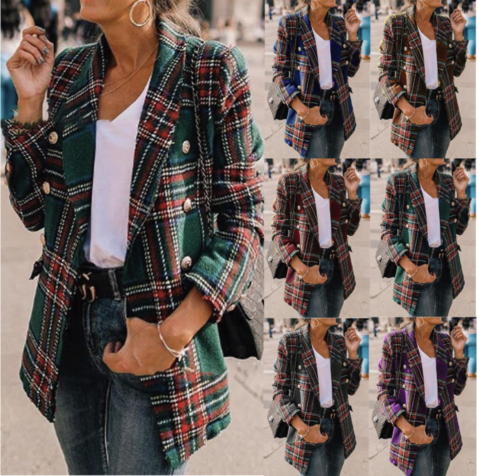 New European And American Women's Autumn And Winter Explosion Models Plaid Long-sleeved Woolen Cardigan Jacket Purple Green