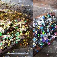 50 g/saco prata/ouro/preto/vermelho holográfico mix tamanho cinco pontos oco brilho estrelas forma da arte do prego spangles lantejoulas estrela brilho