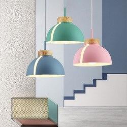 Lampa wisząca w stylu skandynawskim woden lampa wisząca do oświetlenia domu nowoczesna lampa wisząca aluminiowy klosz led żarówka oświetlenie kuchni e27 ing