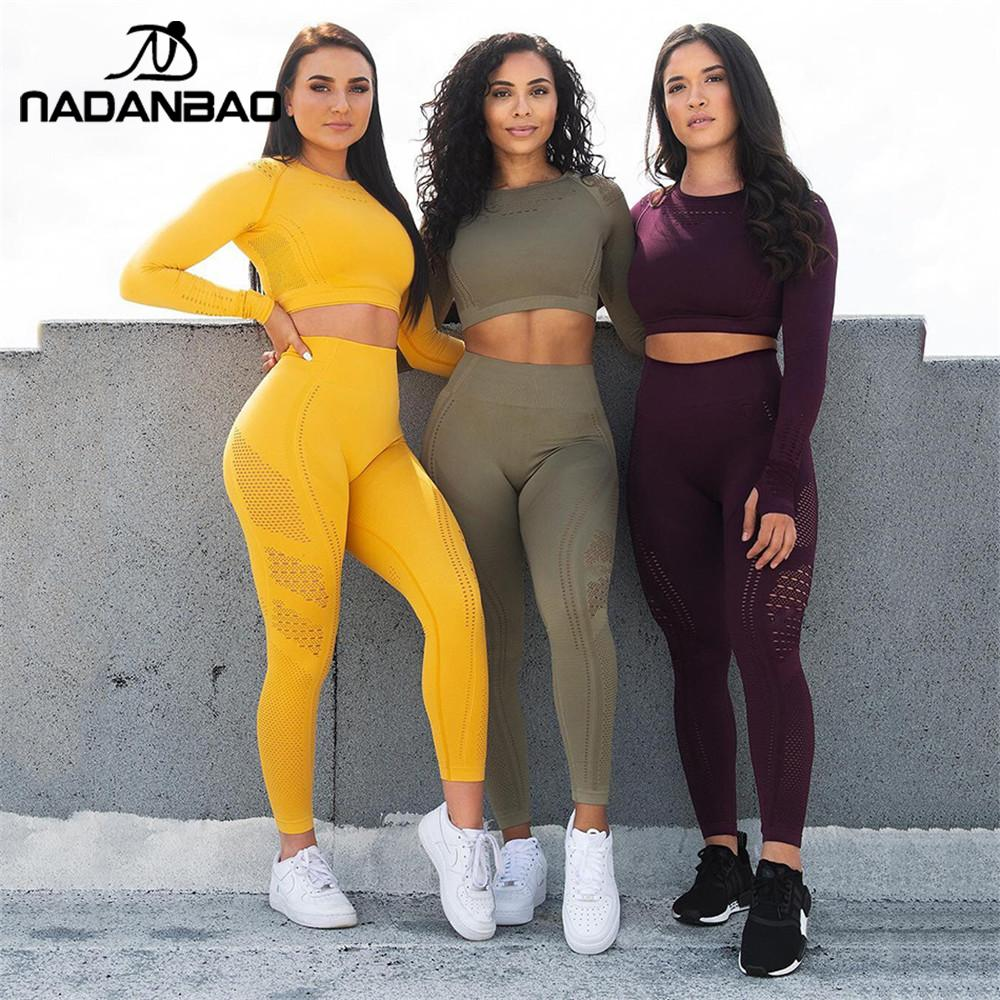 NADANBAO Women Sport Leggings Hollow Out  Push Up Jogging Leggings High Waist Elastic Sportwear Sexy Female Pants
