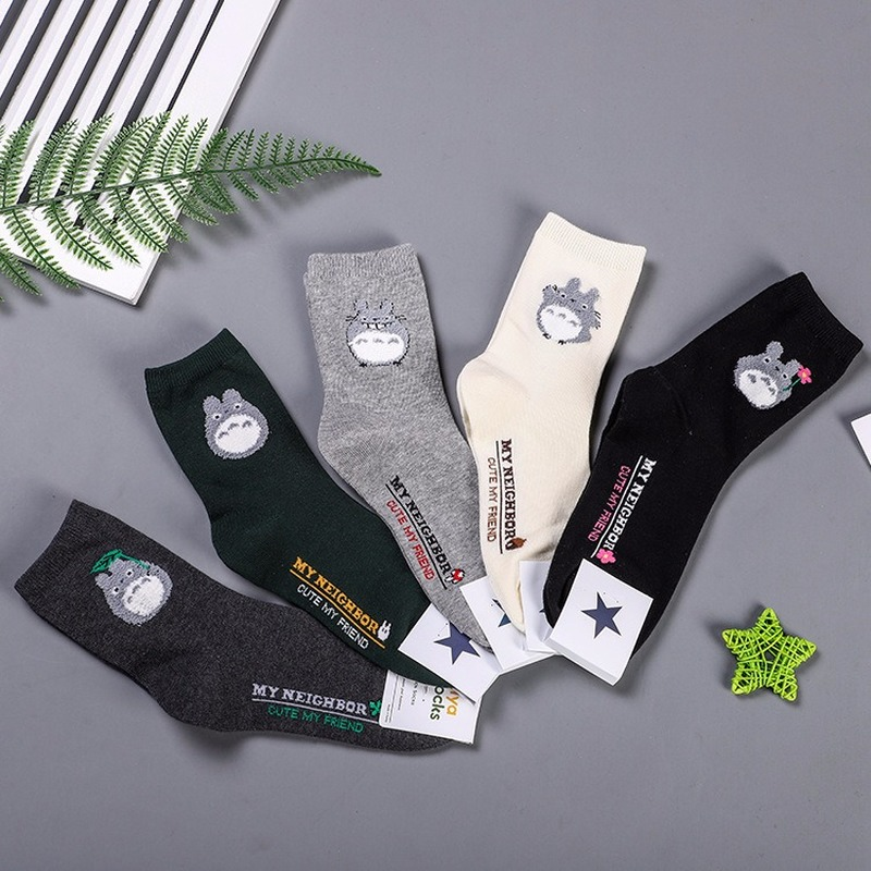 Anime Tonari No Totoro Print Socks Cute Fun Cartoon Women Cotton Sock Autumn Winter Fashion Casual Sporting Comfort Breathable