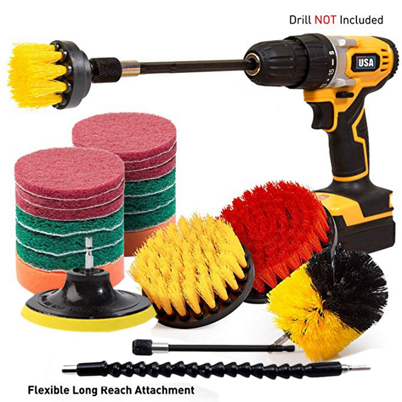Image 2 - 21 Piece Drill Brush Attachments Set Scrub Pads Sponge Power Scrubber Brush with Rotate Extend Long Attachment All Purpose CleanElectric Drills   -