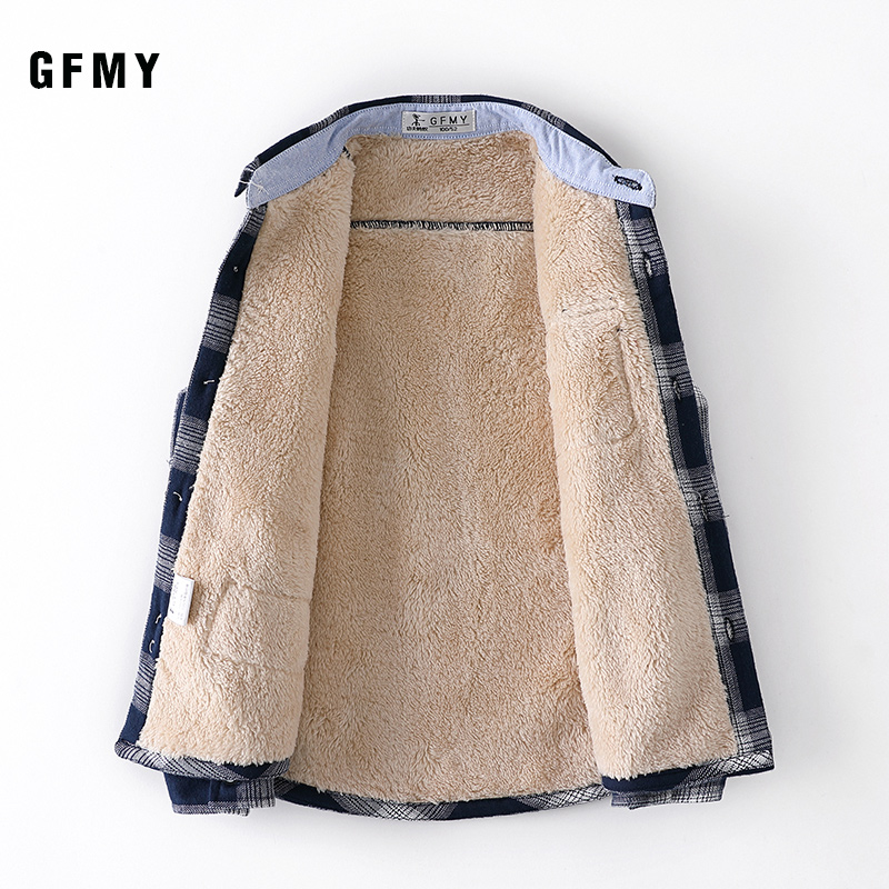 GFMY 2019 Winter 100% Cotton Full Sleeve Fashion Plus velvet Plaid Boys Shirt 3T-12T Casual Big Kid Clothes Can Be a Coat