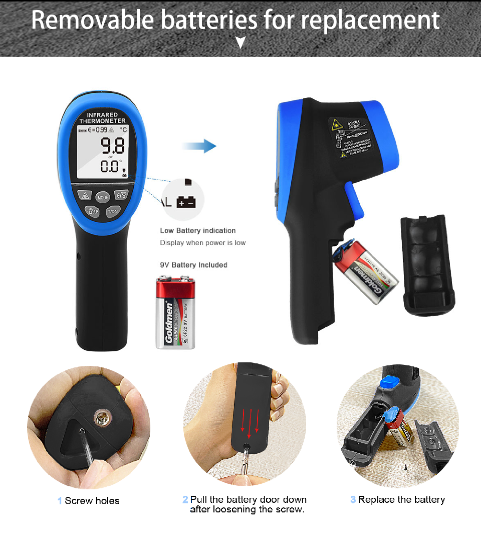 HOLDPEAk HP 1320 Non Contact Infrared Thermometer LCD Display and High Temperature Alarm 16