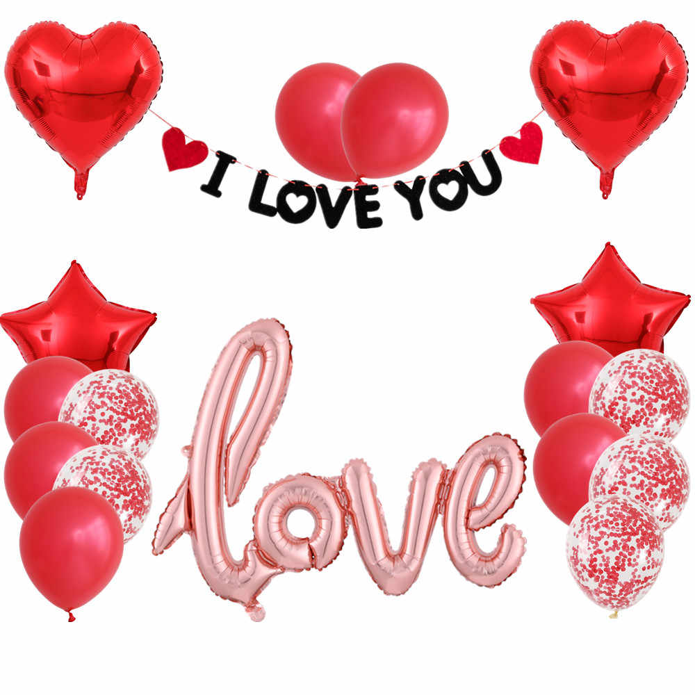 """16/"""" Letters Foil Balloon Gold /'/'I Love You /'/' Letters 2pcs 5/"""" Red Heart Balloons"""