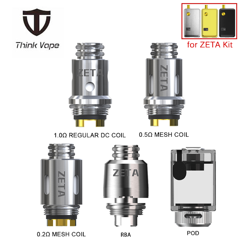 Original Think Vape ZETA AIO RBA Coil ZETA AIO Pod Tank 3ML With 0.5ohm/0.2ohm Mesh Coil 1.0ohm Regular DC Coil For ZETA AIO Kit