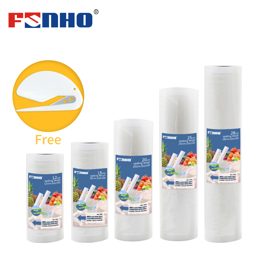 FUNHO Food Packaging Vacuum Bags Foodsaver Seal Packer 12+15+20+25+28 * 500cm 5 Rolls/Lot Keep Fresh For Kitchen