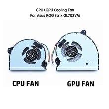 5V PC Fan Cooling Cooler for ASUS ROG Strix GL702VM CPU & GPU Cool Fans FCN FJ9U FJ9T 4pin Computer Components Processor Cooling