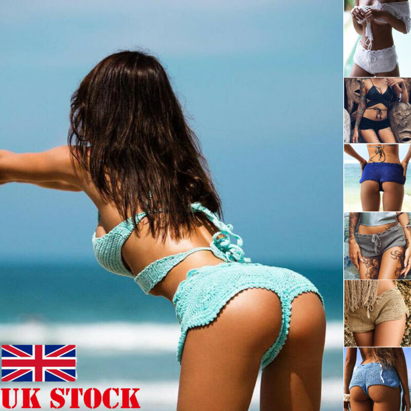 Sexy Women  Bikini Knit Crochet Shorts Beach Sexy Floral Hollow Out Shorts Ladies Summer Holiday Solid Slim Mini Short Bottoms