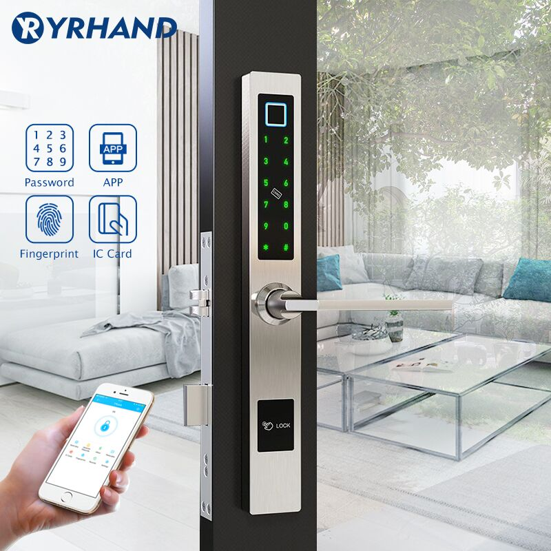 Waterproof European Style Bluetooth Fingerprint Lock Electronic Smart door lock For Aluminum Glass Door-in Electric Lock from Security & Protection