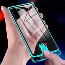 Kim Loại Sang Trọng Ốp Lưng Dành Cho Samsung Note 10 Plus Ốp Lưng Chống Sốc Kính Cường Lực Coque Cho Samsung S10 Plus S10 Ốp Lưng s20 Cực