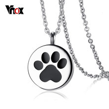 "Vnox Openable Dog Cat Paw Pendant Necklace for Women Men Stainless Steel Pet Animal Necklace Jewelry 20"" Chain(China)"