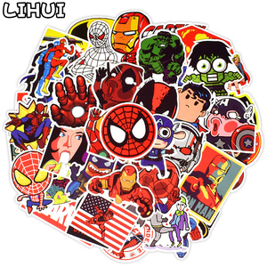 50 PCS Super Hero Cartoon Anime Stickers Toys for Children to DIY Laptop Skateboard Luggage Motor Car Decals Waterproof Sticker