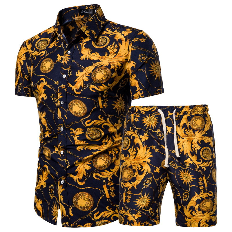 Summer New Products Men's Short-sleeved Shirt Chinese-style Print Shirt Set Multi-color