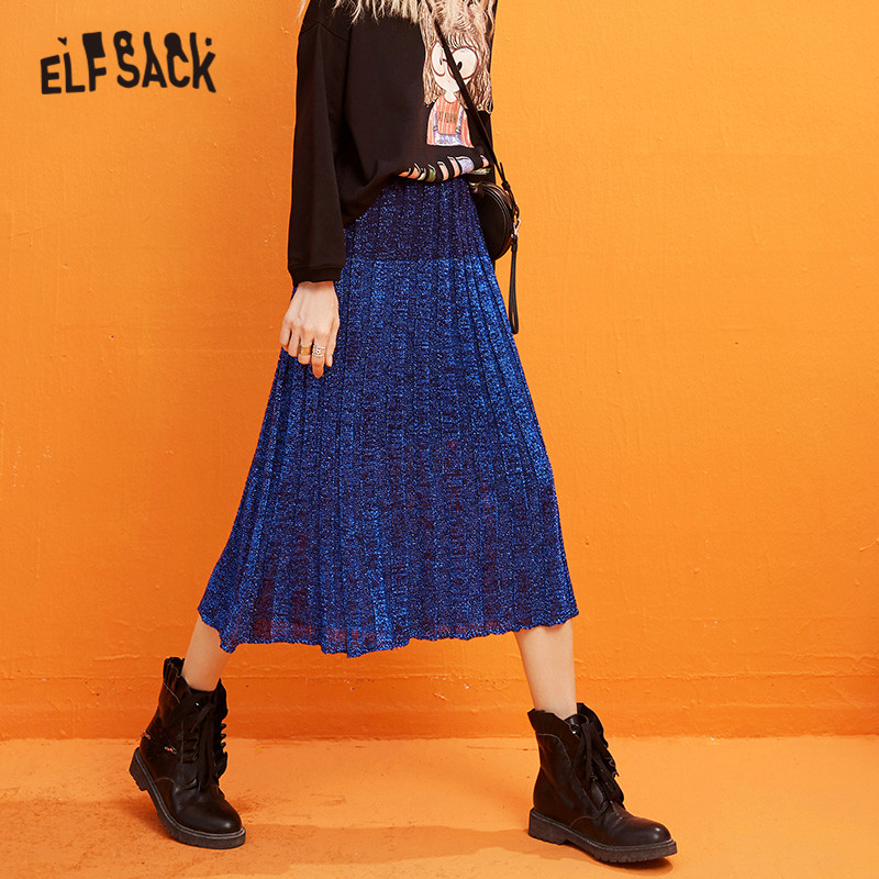 ELFSACK Blue Solid Bright High Waist Pleated Skirt Women 2020 Spring New Black Mesh Pure A Line Office Ladies Daily Long Skirts