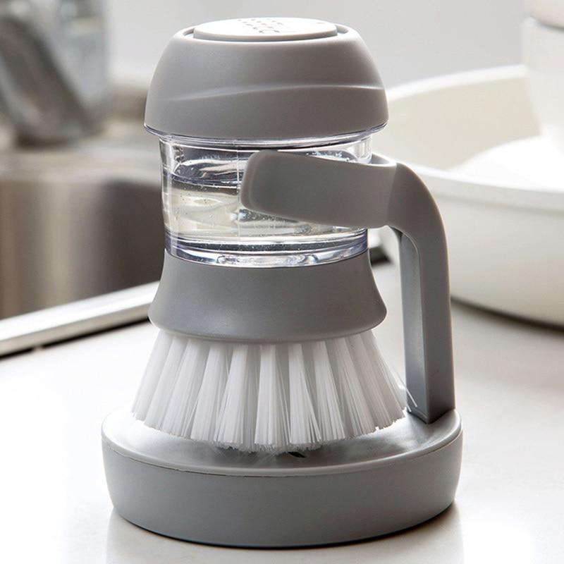 2019 New Household Kitchen Washing Utensils Pot Dish Brush with Liquid Washing Soap Dispenser Pot Brush Dish Brush Cleaning 1