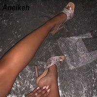 Aneikeh Mode 2020 D'été Scintillent Strass Sandales EN PVC Femmes Chaussures Peep Toe Talons Aiguilles Talons Hauts Sandales D'été POUR Fête