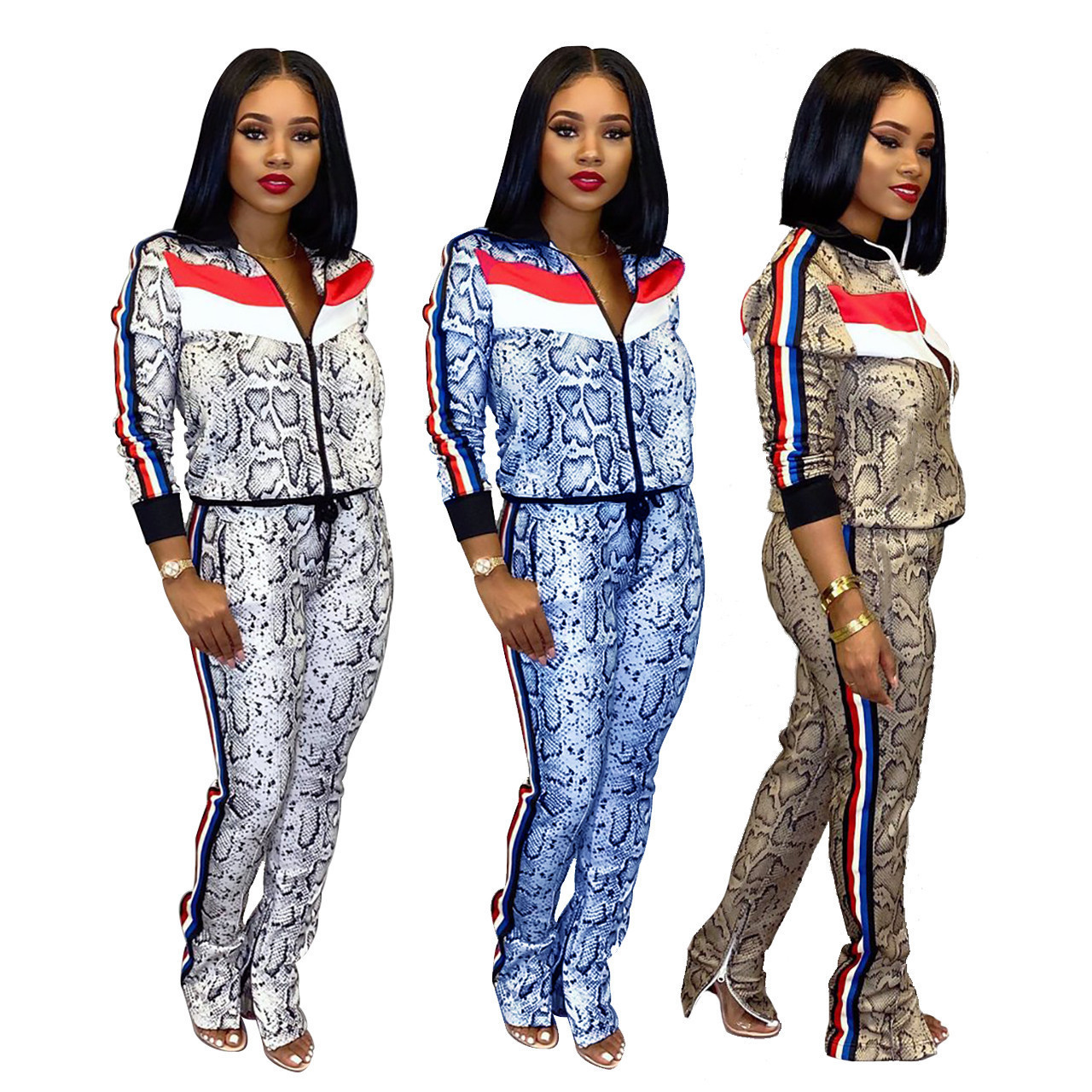 Hot Sale Women Fashion Long Sleeve Printting Two Pieces Sets Spring Woman Tracksuit Sets