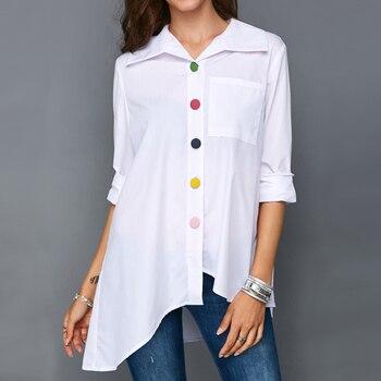 Plus Size Women White Shirt Tops Colorful Button Anomalistic Women's Blouse Long Sleeve Summer Tunic Fashion Woman Blouses 2019 1