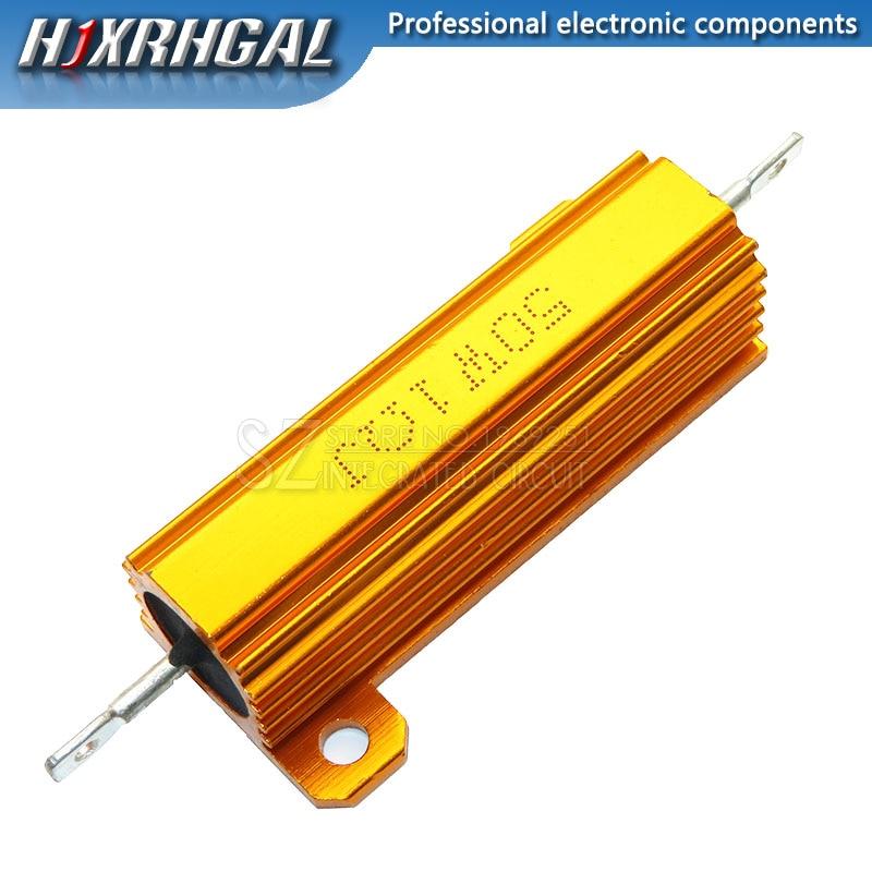 50W Aluminum Power Metal Shell Case Wirewound Resistor 0.01 ~ 100K 0.05 0.1 0.5 1 1.5 2 6 8 10 20 100 150 200 300 500 1K 10K Ohm