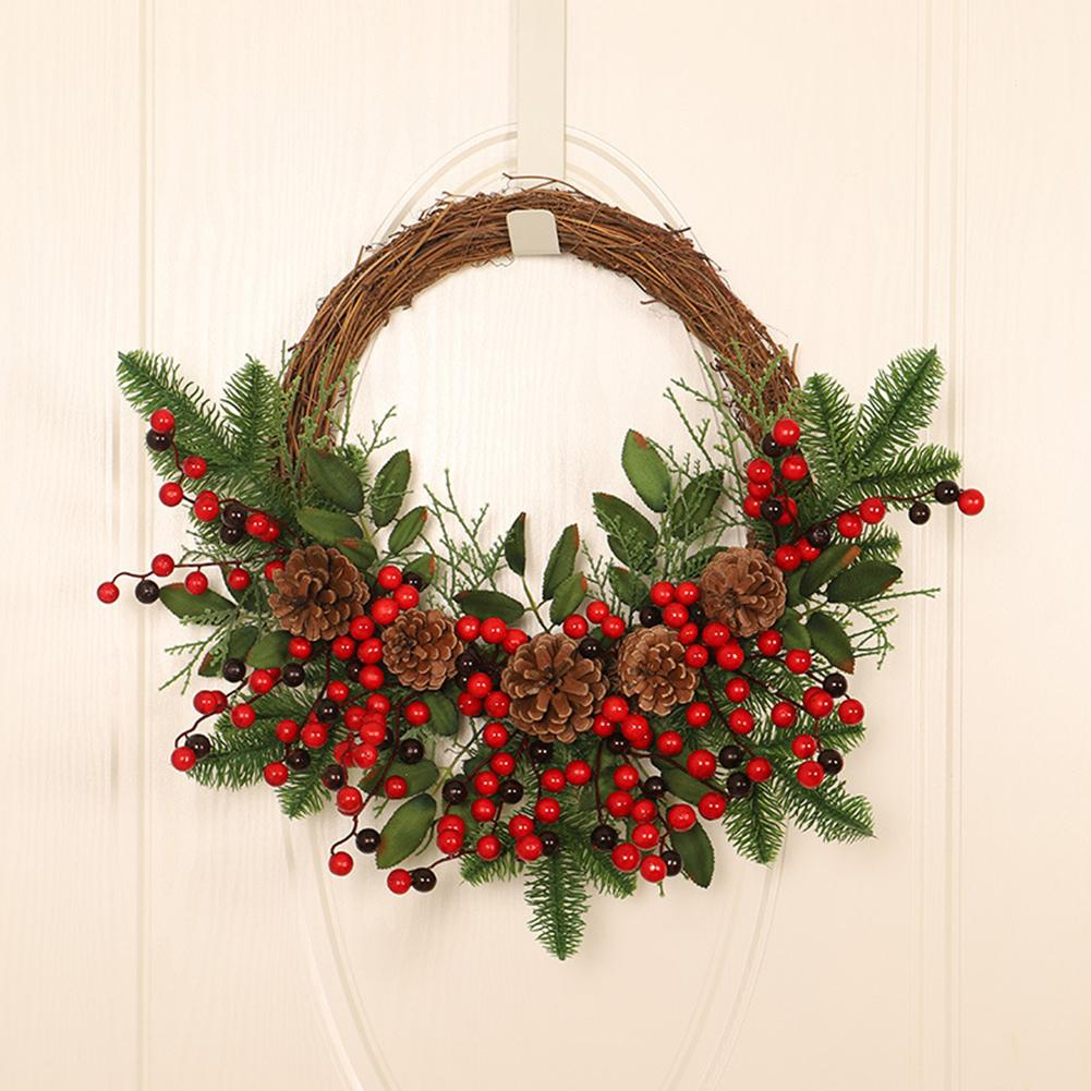 New Artificial Wreath Wall-mounted Pine Cones And Red Fruit Door Decoration Garland For New Year Christmas Home Decoration