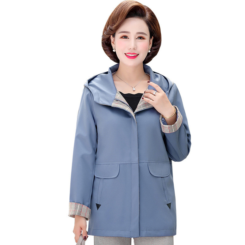 2020 New Middle-aged Mother Spring Autumn Jacket Casual Top Women Windbreaker Plus Size Loose Outerwear Hooded Women Coats 3369