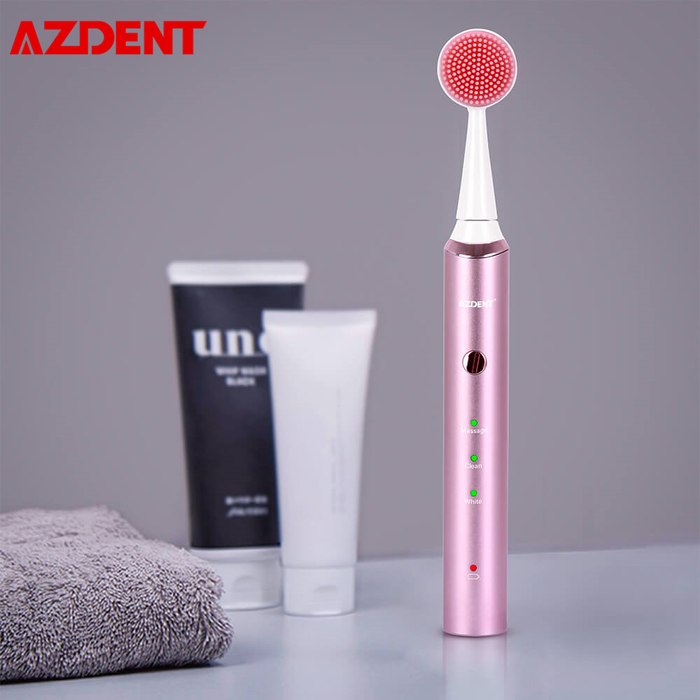 AZDENT Magnetic Rechargeable Face Wash Electric Toothbrush 3 Modes Sonic Face Teeth Massager Brush 3 In 1 Toothbrush Waterproof