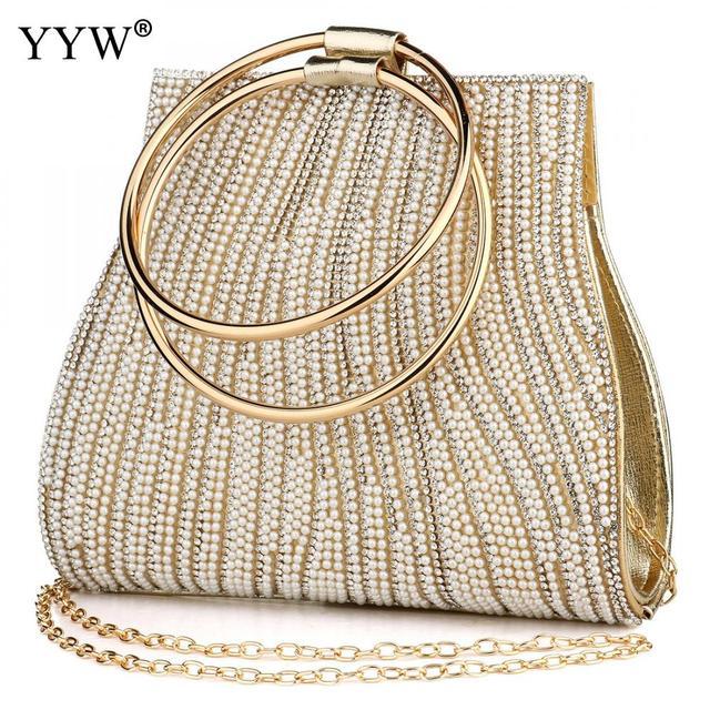 Sac A Main Femme Women Circle Ring Purse And Handbag Rhinestone Beaded WomenS Shoulder Bag Luxury Handbags Women Bags Designer