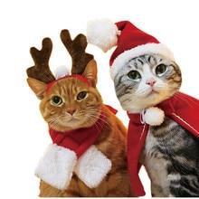 Шляпа для питомца кошки собаки красный шарф Рождественский праздничный костюм маленькие животные комплект одежды для питомца Рождественский рога повязка на голову Z903