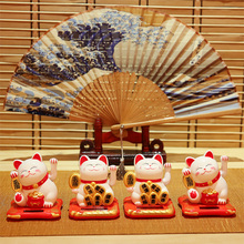 Lucky Cat Small Decoration Waving Hand Solar Car Interior Car Shop Opening Gift FengShui Automatic Waving Solar Automatic Waving