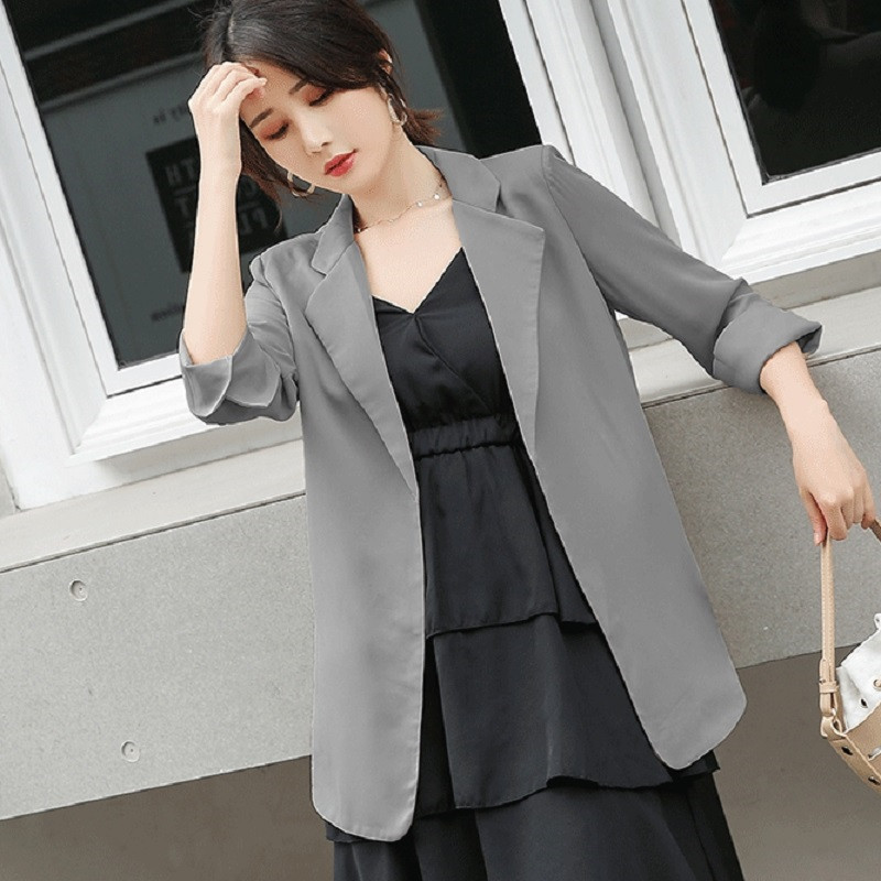 Summer Thin Chiffon Blazer Jacket Suit Coat Women Loose Casual Outwear Three Quarter Sleeve Office Jacket Fashion P284